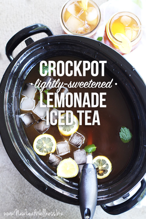 Crockpot Lightly-Sweetened Lemonade Iced Tea