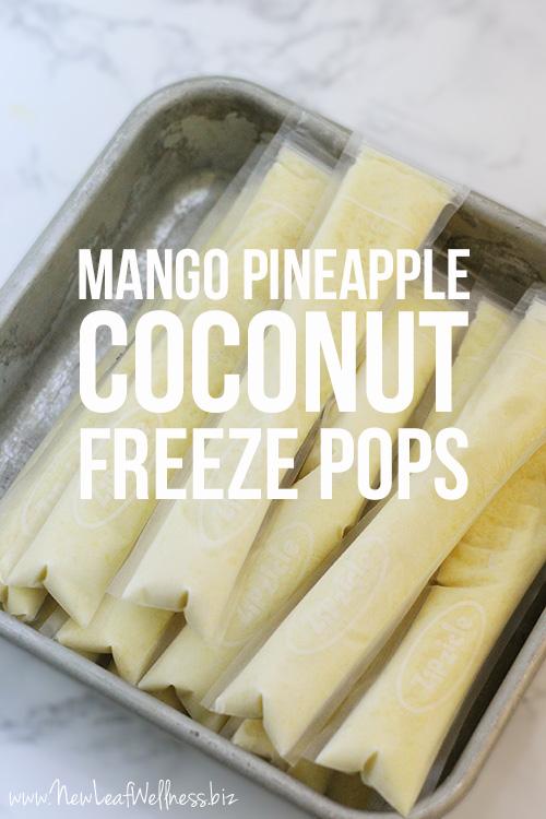 Homemade Mango Pineapple Coconut Freeze Pops