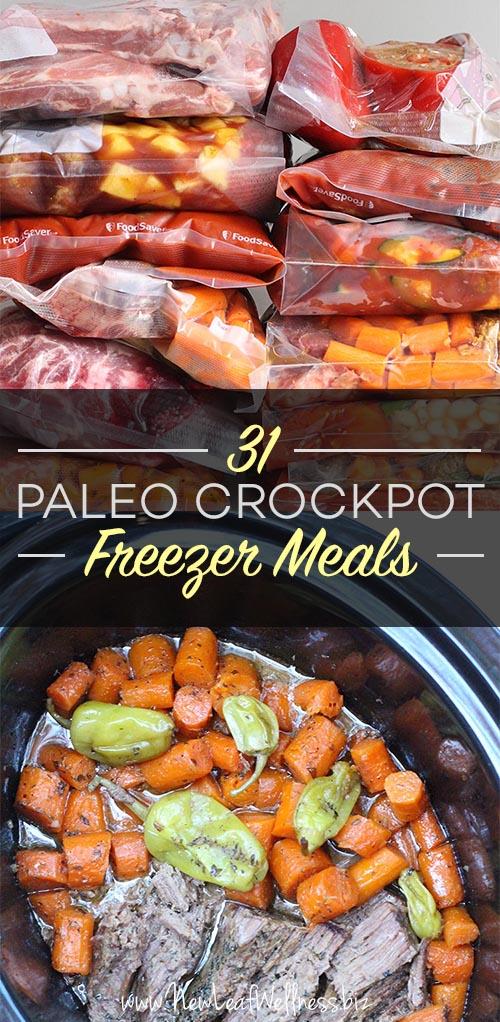 31 Paleo Crockpot Freezer Meals. Free grocery list!
