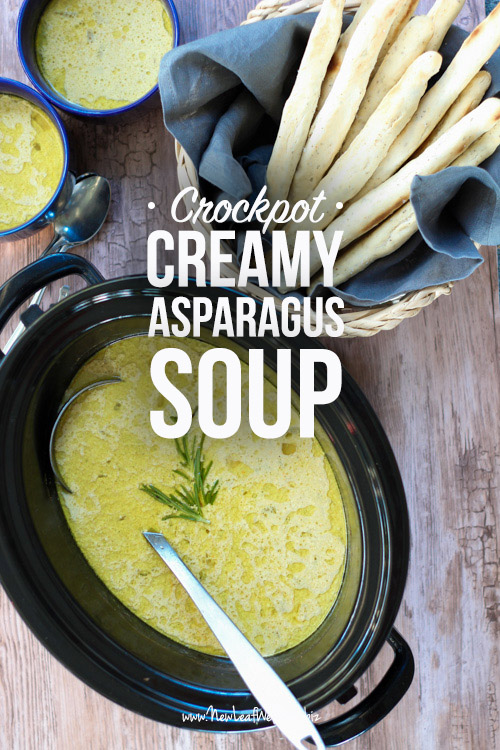 Crockpot Creamy Asparagus Soup with Rosemary Breadsticks
