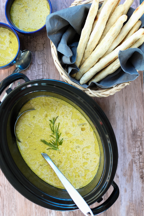 Crockpot Creamy Asparagus Soup with Rosemary Breadsticks ...