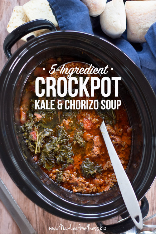 5-Ingredient Crockpot Kale & Chorizo Soup