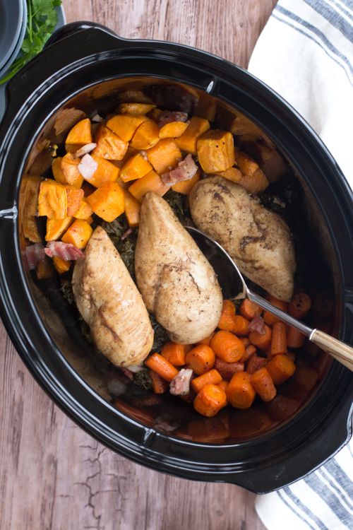 Crockpot Bacon Balsamic Chicken and Vegetables