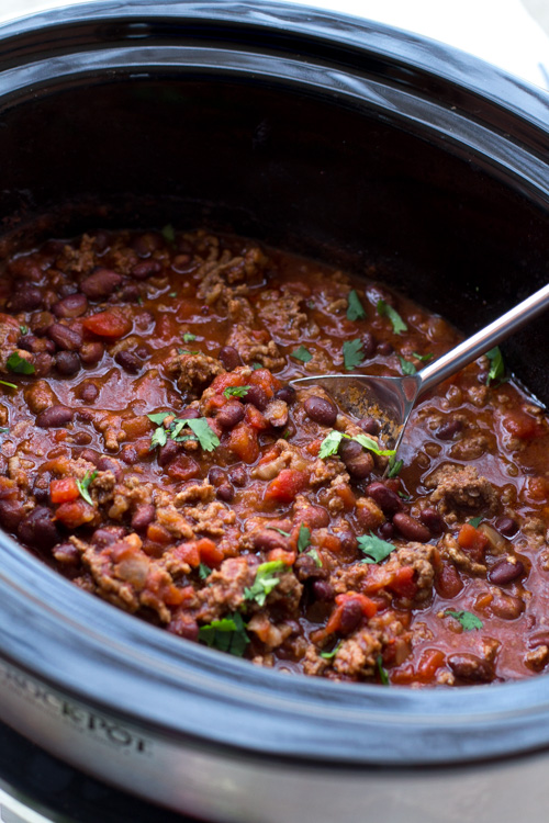 Slow Cooker Beef, Lime, and Cilantro Chili
