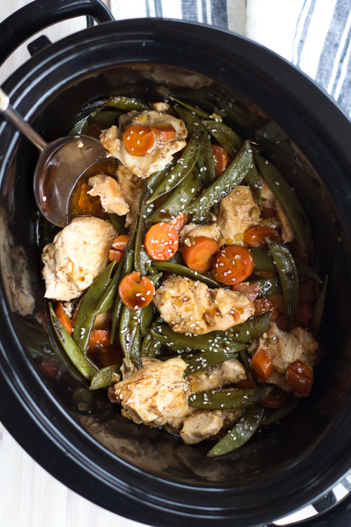 Crockpot Ginger Chicken with Snow Peas