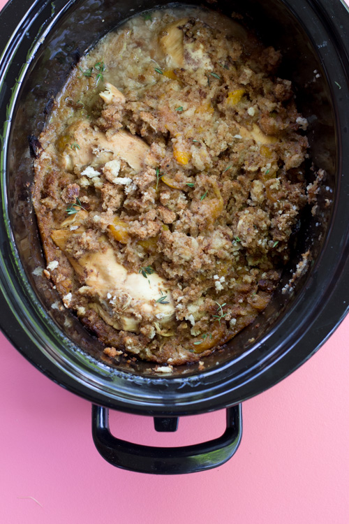 Crockpot Chicken with Peach Stuffing