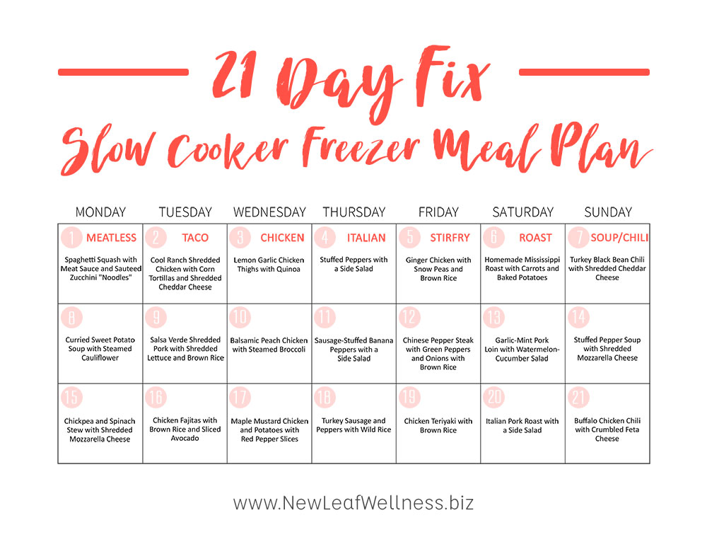 The Ultimate 21 Day Fix Slow Cooker Freezer Meal Plan