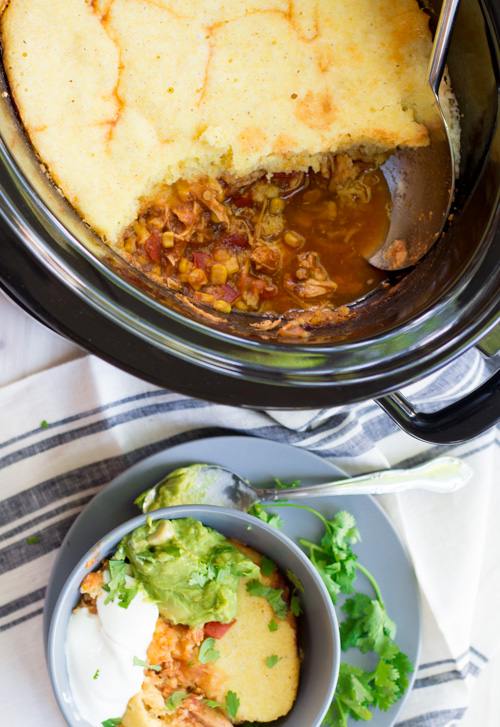 Slow Cooker Mexican Chicken Chili with Cornbread Topping