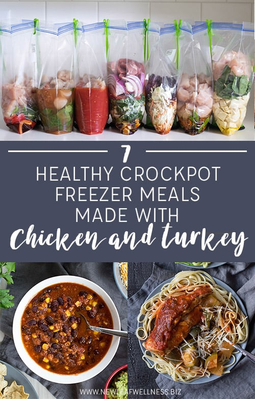 7 Healthy Crockpot Freezer Meals with Chicken and Turkey