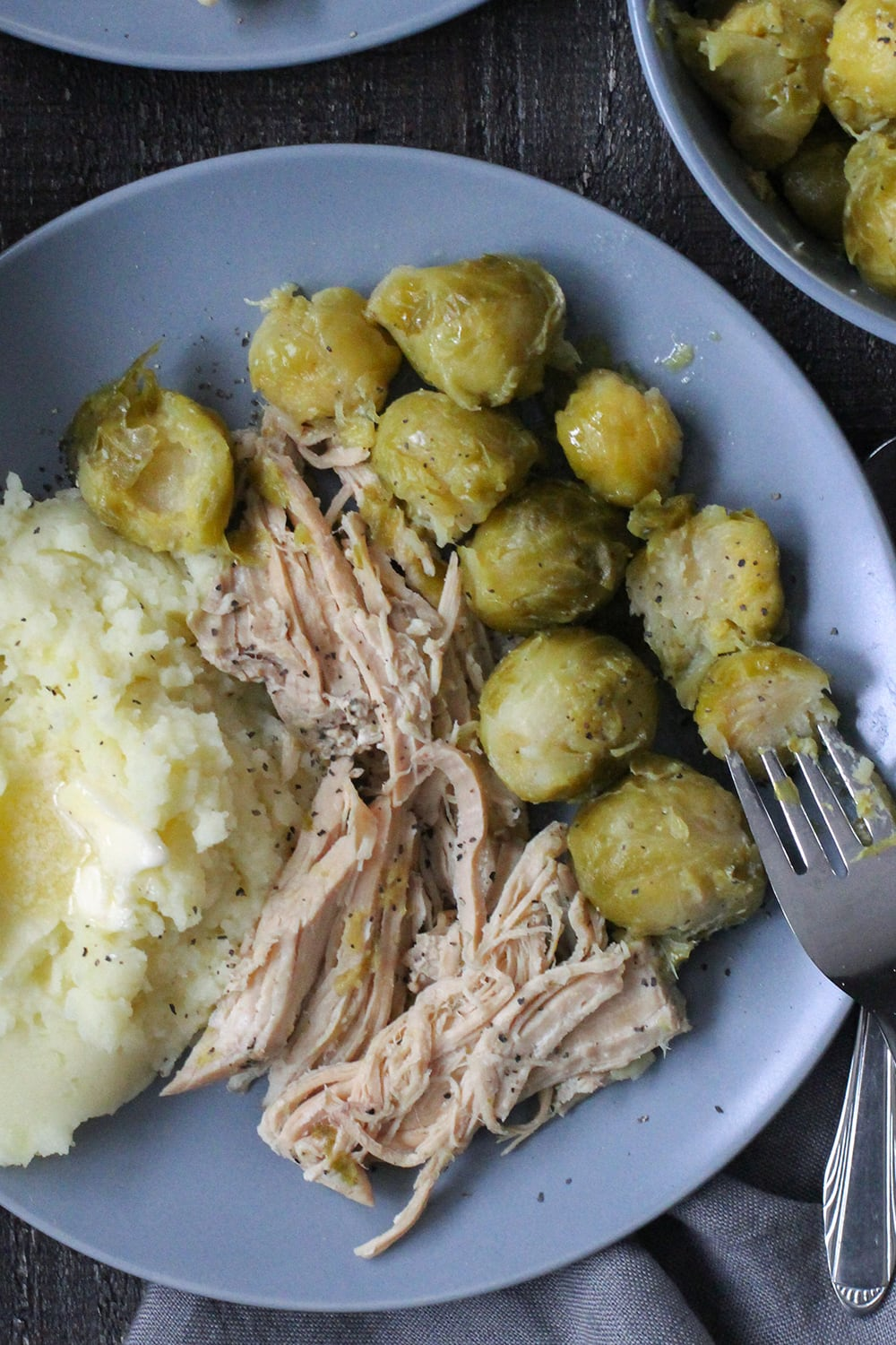 Slow Cooker Pork and Dilled Brussels Sprouts