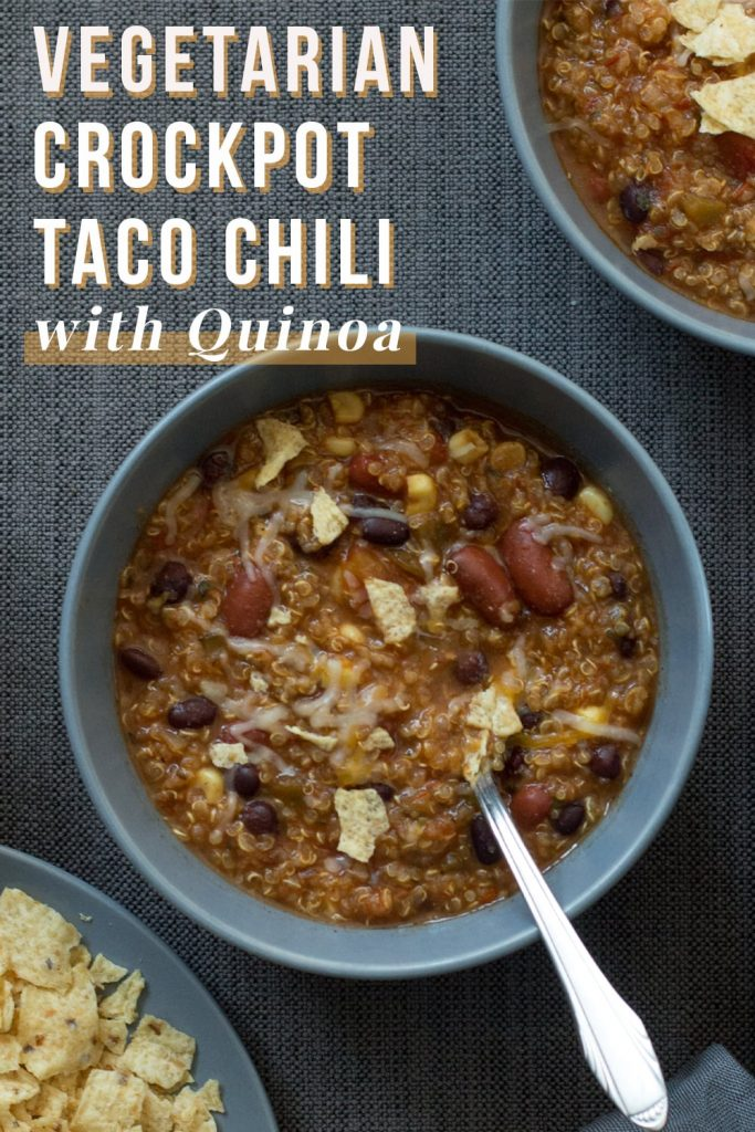 Vegetarian Crockpot Taco Chili with Quinoa